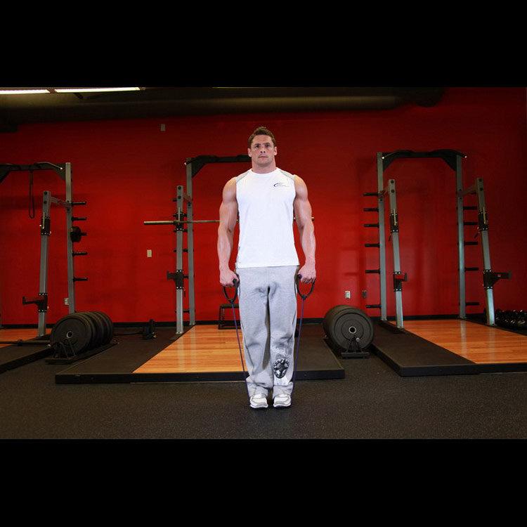 Подъёмы с резиновой лентой для икроножных мышц
